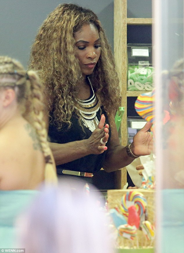 Yum! Serena treated herself at a candy store the same day