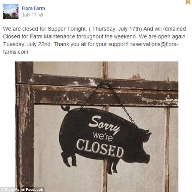 Closed for business: The venue posted they would not be open at the weekend of Levine's nuptials