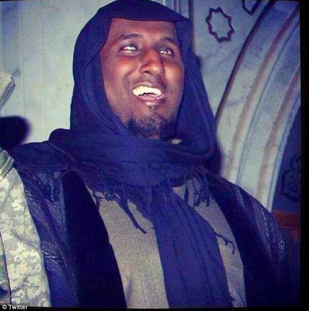 Propaganda: Taymullah al-Somali, who is often pictured smiling, has become something of a poster boy for jihadists in the Middle East, who use his disability as a rallying cry that nobody is beyond joining ISIS' ranks