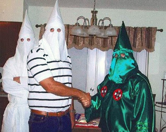What goes on behind closed doors: There is no paperwork to support Ann Hunnewell¿s claim nor did she and her ex-husband keep any evidence as part of their 'undercover' mission. Elkins pictured with Klan leader