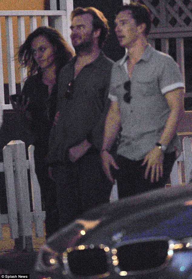 Night out: Benedict Cumberbatch steps out with two pals for an evening at Los Angeles restaurant Gjelinas on Sunday evening