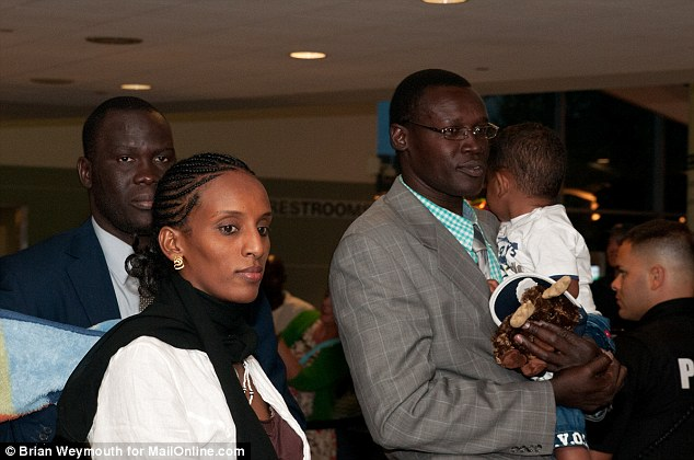 Relief: Meriam arrived in Manchester, New Hampshire with her husband Daniel Wani (not pictured) and their children, Martin and Maya