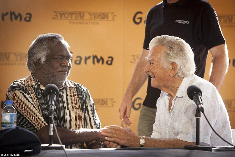 Yothu Yindi Foundation chairman and Gumatj clan leader Galarrwuy Yunupingu with former Prime Minister Bob Hawke during the Garma Festival key forum