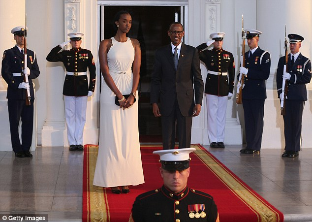 Rwanda president Paul Kagame's rule over his country has been notable for its restrictions on the press - (seen here at the White House on Tuesday with his daughter, Ange Ingabire Kagame)