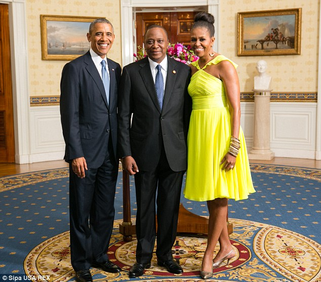 Kenya's President Uhuru Kenyatta with Barack and Michelle Obama