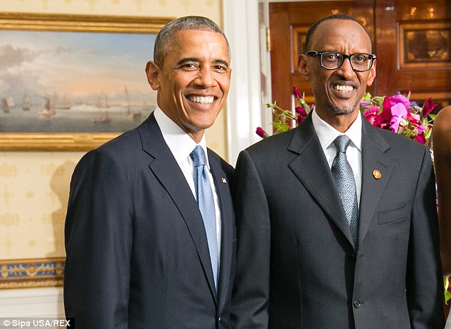 Rwanda's president Paul Kagame with Barack Obama at the White House on Tuesday