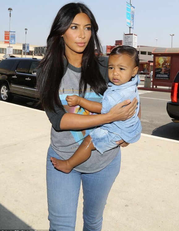 Headed North! Kim and her daughter Nori both looked perfectly styled and ready for air travel as they were seen out on Thursday