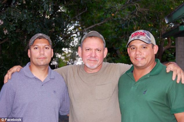Cartel links: Javier Jr., left, with his father, Javier R. who was also wounded in the attack, and brother Jordy, who was not at the scene. One of Javier Jr's alleged killers has been linked to the notorious Gulf Cartel