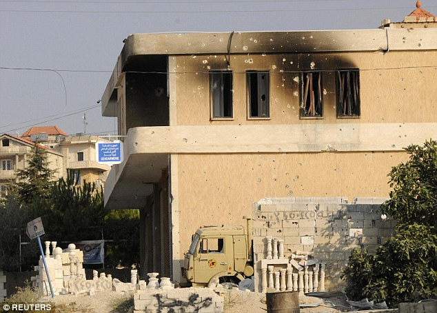 Damage: This army building in Arsal was damaged by jihadist gunfire in an attack this week