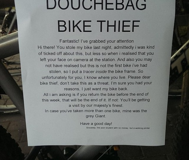 The Owner Of A Stolen Bike Wrote This Humorous Letter Informing A Thief His Bicycle Was