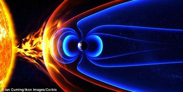 Ocorrência natural tempestades geomagnéticas, causadas pelo vento solar interagindo com o campo magnético da Terra, pode danificar a magnetosfera da Terra, causando apagões generalizados e caos viajar