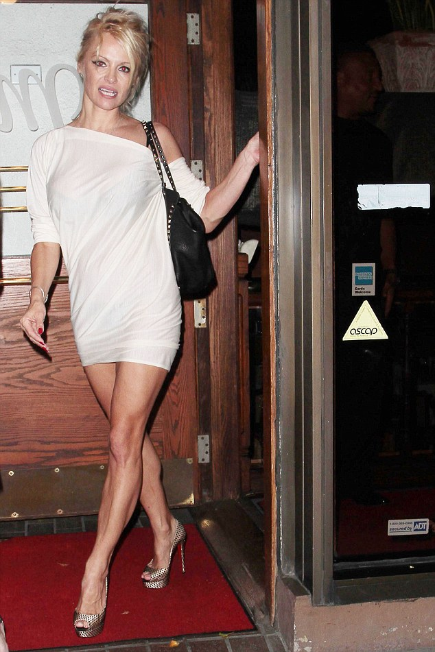 Pamela Anderson Flashes Her Underwear As She Enjoys Night