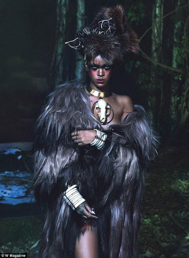 Really wild! Rihanna, 26, explored her dark side in the tribal-inspired spread
