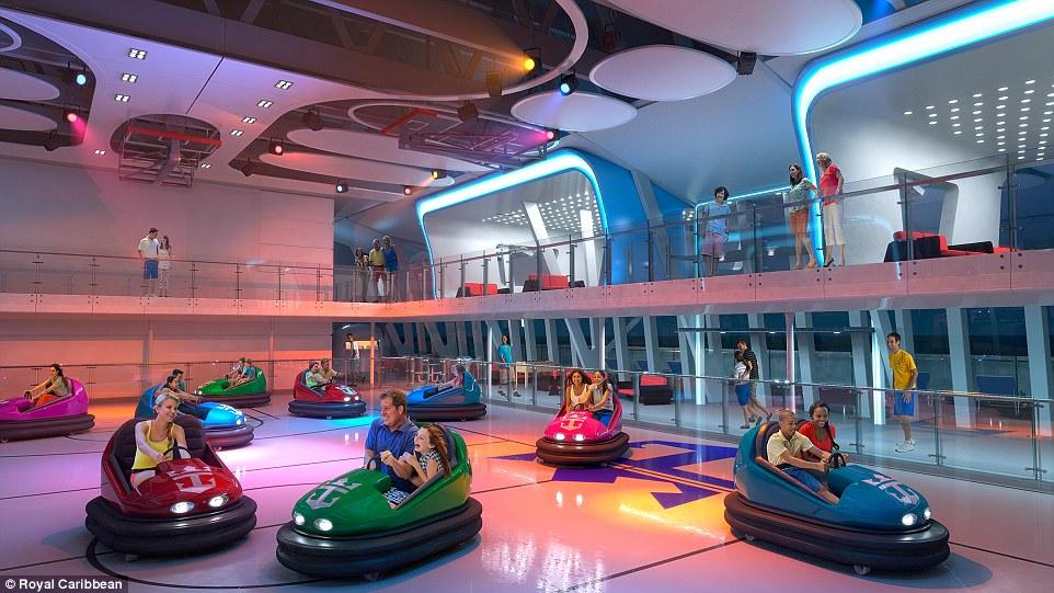 Diversão em família: Esta rendição mostra um espaço para carrinhos de choque dentro SeaPlex, o maior espaço interior ativo no mar