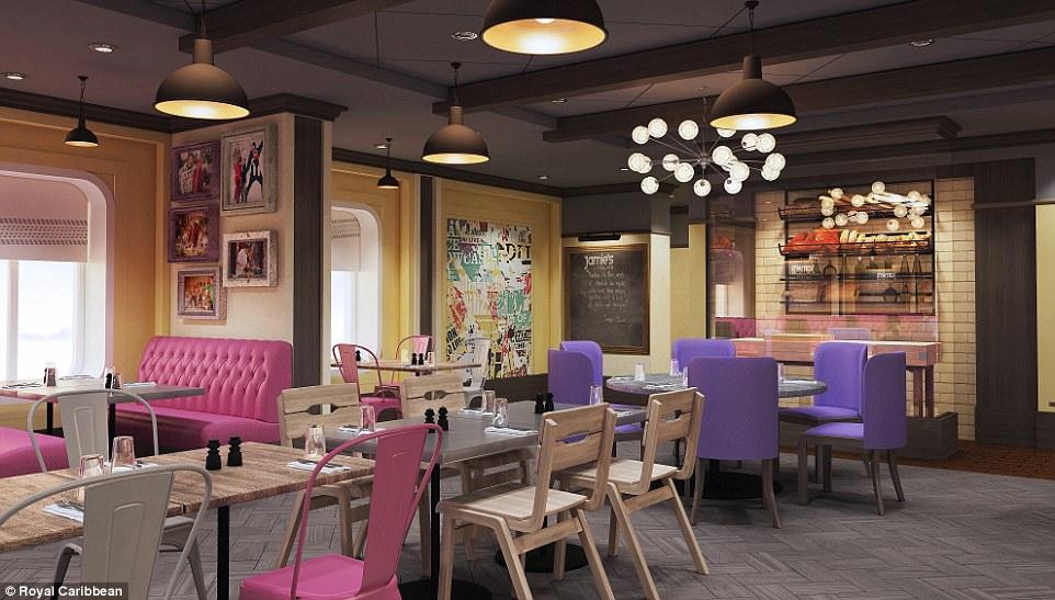 Comida para baixo: Foodies terá a sua escolha de 18 restaurantes, incluindo um restaurante italiano desenvolvido pelo chef celebridade Jamie Oliver