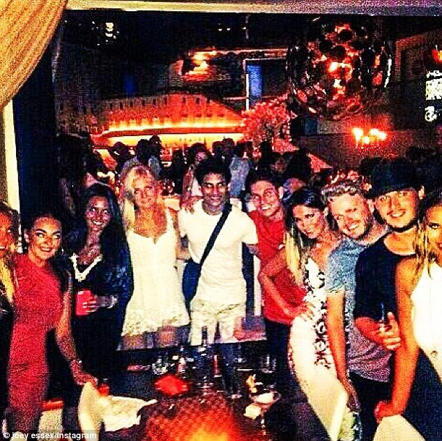 Party time: The 24-year-old 'reem' star posted a snap of his Ibiza crew out on the town