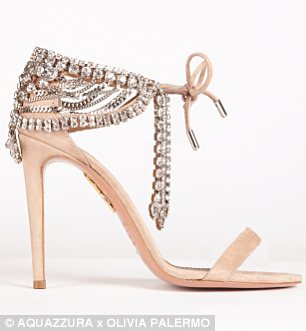 All that glitters: These jewel-encrusted stilettos, available in black (left) and pale pink (right) were inspired by a vintage Victorian necklace belonging to Ms Palermo