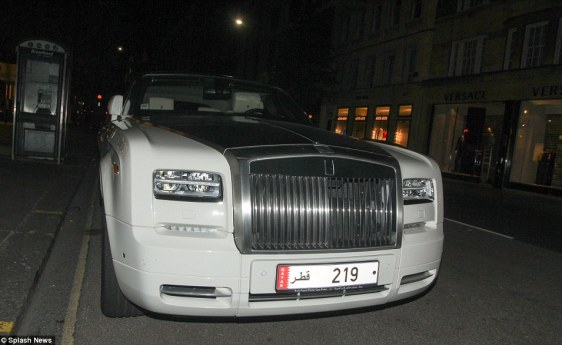 'A lot of them tour - so they may come to London for a bit and then truck their vehicle to much sunnier places like Marbella to extend their fun,' said Mr Hallworth. Above, a Rolls-Royce parked opposite Versace (naturally)
