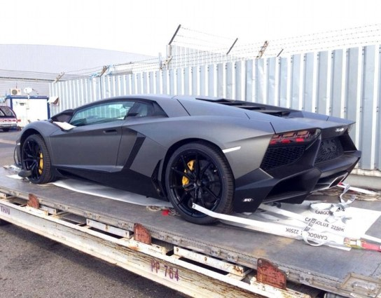 A Lamborghini Aventador, valued at £280,000, sits on one of Dan Car Logistics' pallets, as it prepares to be transported
