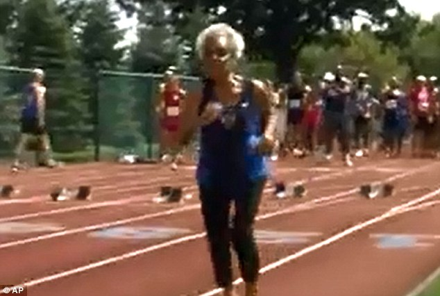 Determined: Ida Keeling from New York City achieved the feat on Tuesday at the Gay Games in Akron, Ohio