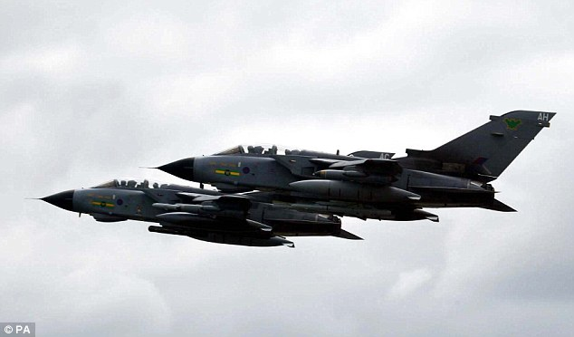 Eye in the sky: Three RAF Tornado GR4s  are being deployed to  search for the 200 missing Nigerian schoolgirls