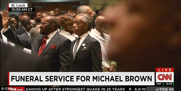 Service: Rev. Al Sharpton attended the young man's funeral and addressed the crowd