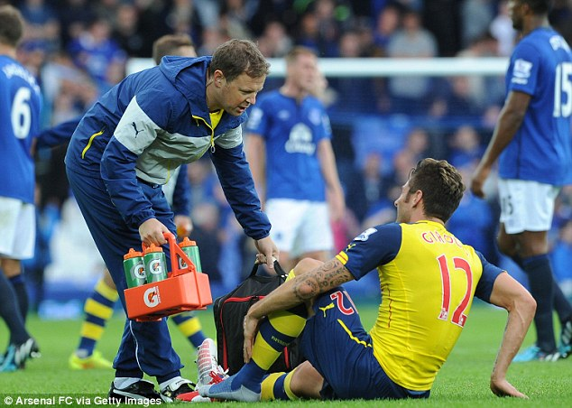 Crocked: Olivier Giroud went down against Everton and he will have a second scan on his injured ankle