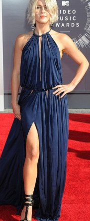 Beautiful in blue: Laverne Cox sparkled in her angled dress while Sarah Hyland and Julianne Hough were lovely in floor-length blue gowns
