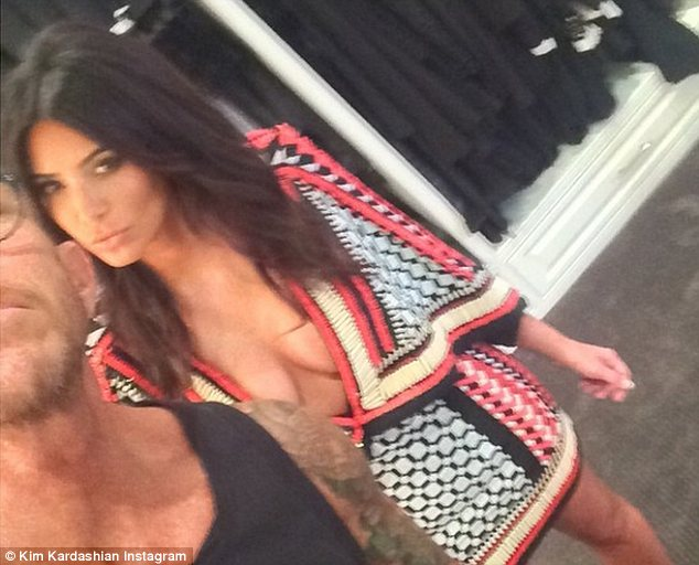 Taking the plunge: Kim's Balmain Resort dress left very little to the imagination and she couldn't resist sharing a picture of herself on Instagram