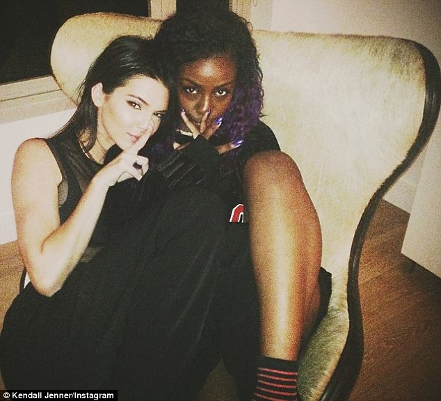 It's all over: Kendall didn't change out of her glam outfit before she chilled out with a pal