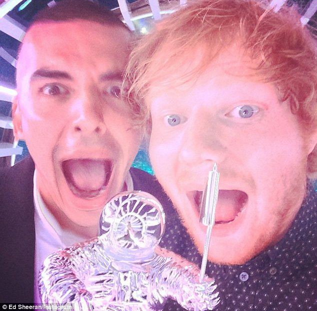 The most important: Ed Sheeran made sure to include his Sing director and the moonman award they picked up in his Instagram picture