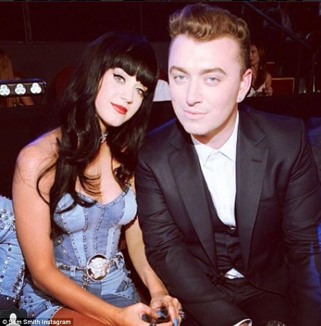 Feeling the love: After Katy taught him how to pout, Sam shared this picture and wrote 'love you'