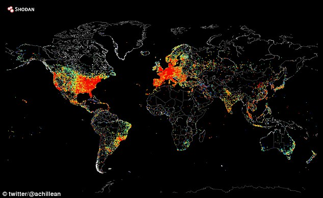 Connected: Texas-based internet cartographer and computer scientist John Matherly has used software to ¿ping¿ global web devices to build a map (pictured) demonstrating the technology¿s global reach
