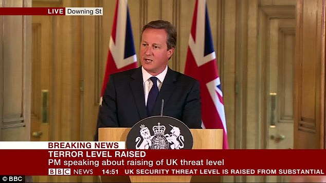 David Cameron today warned that Islamist terrorists cannot be 'appeased' and need to be faced down