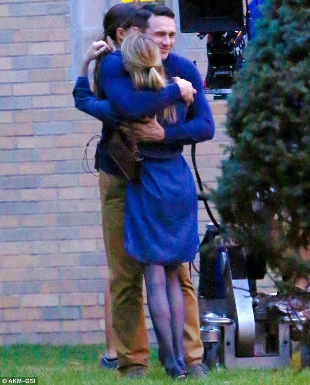 James Franco And Emma Roberts Embrace On New York Film Set