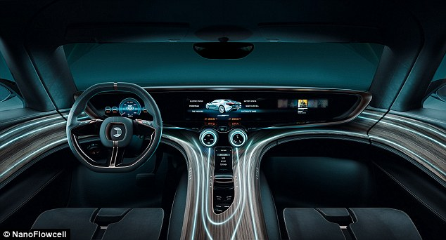 The car carries the water in two 200-litre tanks, which provide a range of up to 373 miles (600km).Inside is a full-length interactive dash, with wood-theme features and an Android-based entertainment system