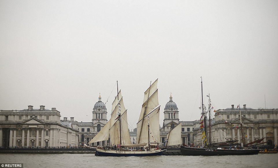 The Tall Ship Tectona, built in India in 1929, is  moored outside the Old Royal Naval College at Greenwich as part of the Tall Ships Regatta