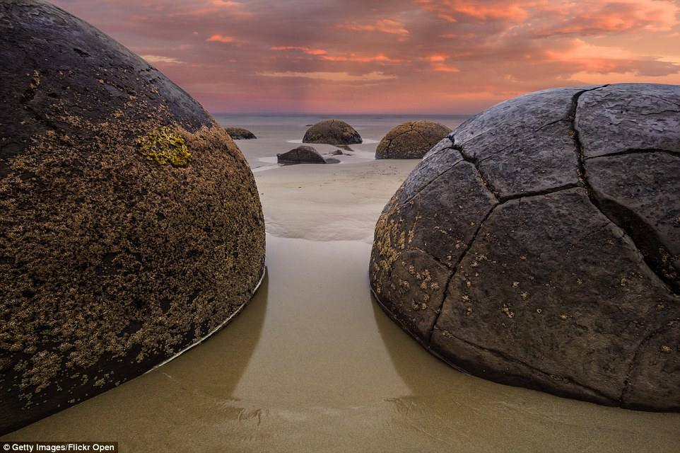 Dragon eggs: The large Moeraki Boulders at New Zealand's Koekohe Beach are concretions that formed in ancient sea floor sediments around 60 million years ago