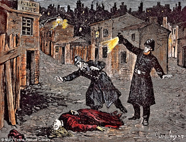 Gruesome: A contemporary engraving of a Jack the Ripper crime scene in London's Whitechapel