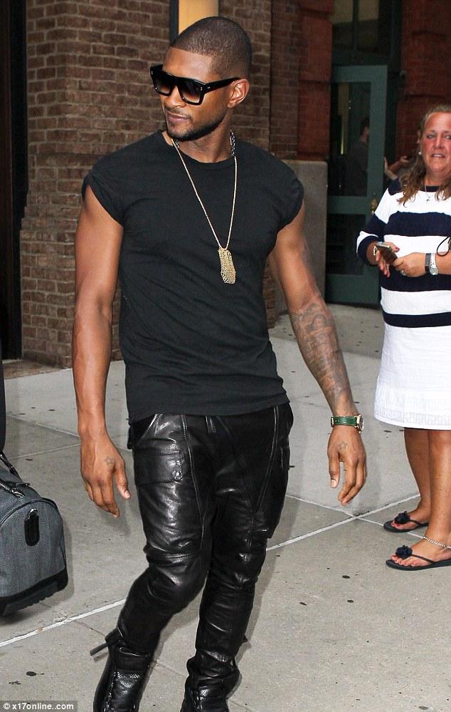 Usher Rocks Leather Pants And Smedium Shirt Look