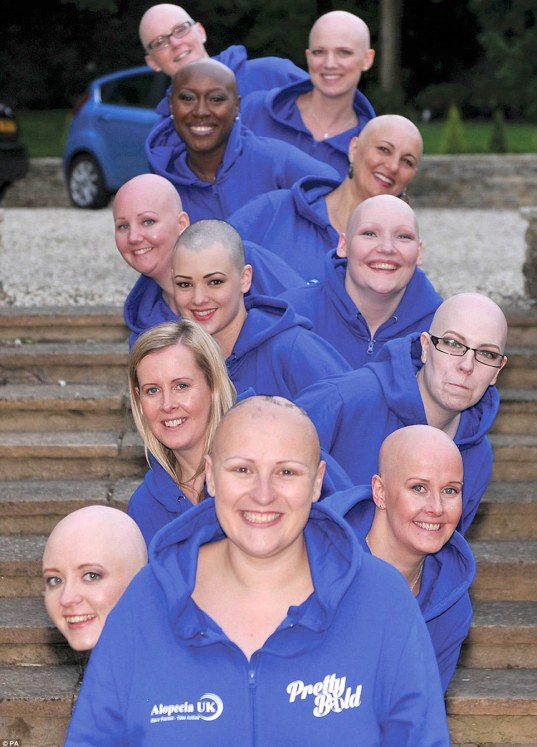 Twelve inspiring ladies have bared all, including bald heads, in the unique fundraising calendar, showing that bald is beautiful