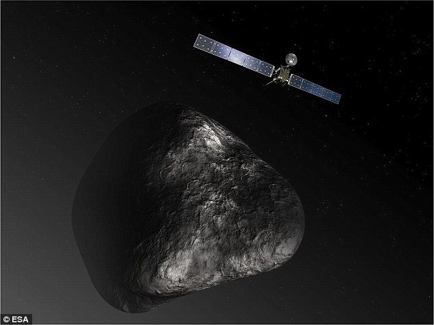 An artist's impression of the Rosetta orbiter at comet 67P/Churyumov-Gerasimenko. Instead of imaging a bright, ice-covered comet, the probe¿s instruments have detected that 67P is in fact darker than charcoal