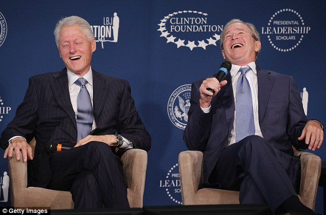 In stitches: Former Presidents Bill Clinton and George W Bush appeared together Monday, to announce a leadership series which will be taught at four presidential libraries across the nation