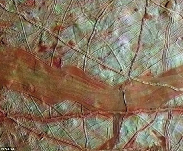 The surface of Europa is slightly smaller than the Earth¿s moon and is riddled with cracks and ridges. Blocks on the surface are known to have shifted in the same way blocks on either side of the San Andreas Fault move past each other on Earth