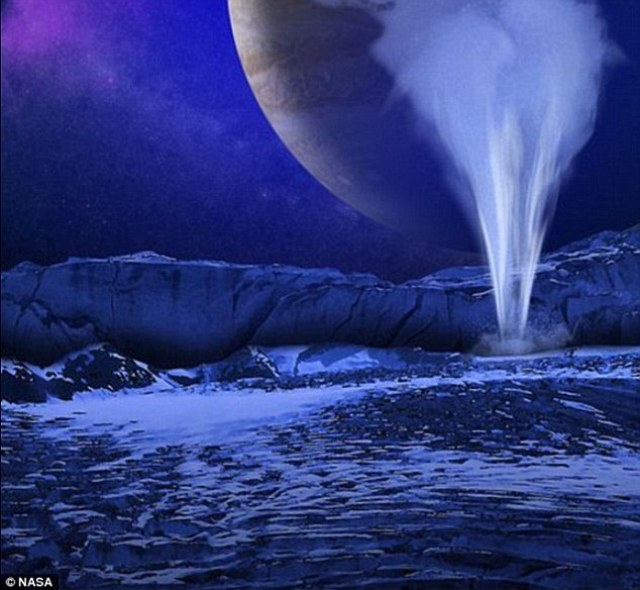 Less than a year ago, scientists discovered plumes of water vapour erupting from the moon¿s south polar region (illustrated), so it may be possible for a robotic probe to sample Europa¿s liquid water at a distance without landing on it