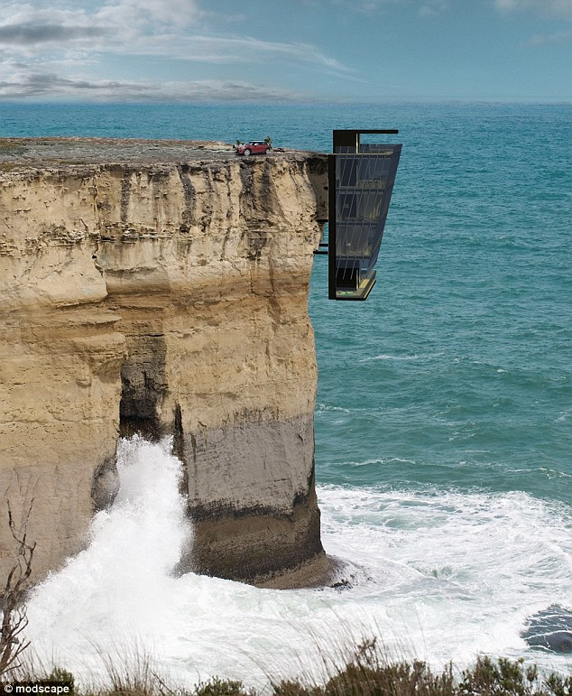 Cliff House will extend off a vertical rock face and be anchored to the cliff side with support beams. Each floor of the five-storey dwelling will be held together by engineered steel pins