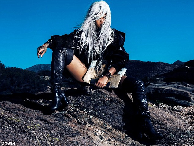 Silver fox: Rihanna donned a wig and lots of leather for issue number 35 of TUSH