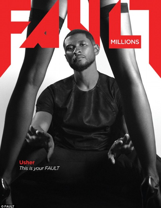Cover boy: Usher, 35, is on the front of the latest issue of Fault magazine where he touched on several subjects including his hardships the past few years, his new album and exciting new role