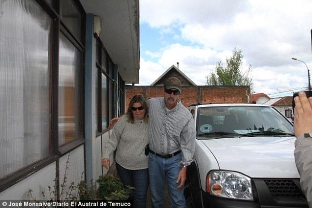 Parents' worst nightmare: Bambi and Chris Hagan are pictured in Chile, where they arrived this week to transport their daughter's body bad to the US
