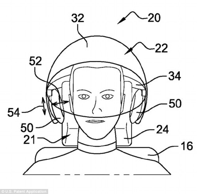 A graphic of the proposed in-flight headset as designed by Bernard Guering